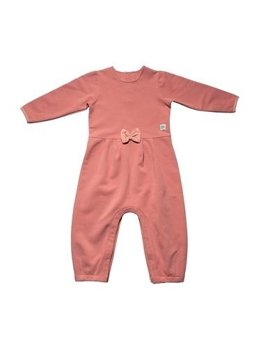 Nila Kids Pembe Rengi Fırfır Detaylı Organik Kız Bebek Tulum Elbise NK01018P (6 AY - 3 YAş) Pembe